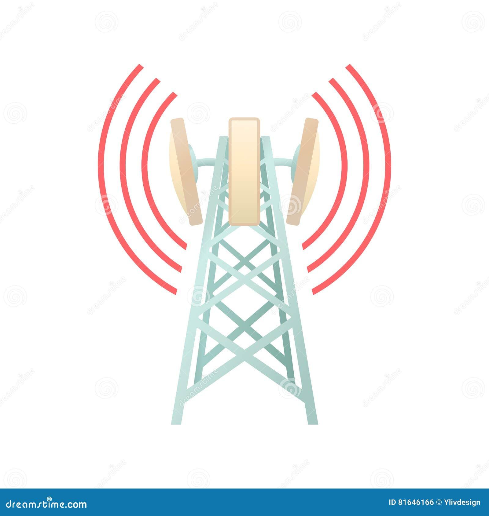 Toren met telecommunicatie-uitrustingspictogram