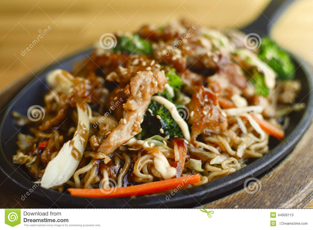 Tori Teriyaki Soba stock image. Image of broccoli ...