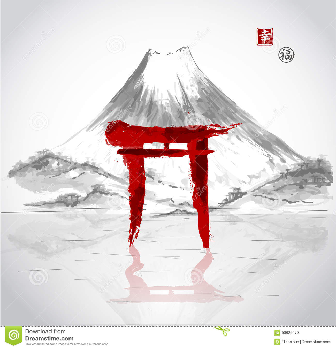 Torii Gates Hand Drawn With Ink Stock Vector