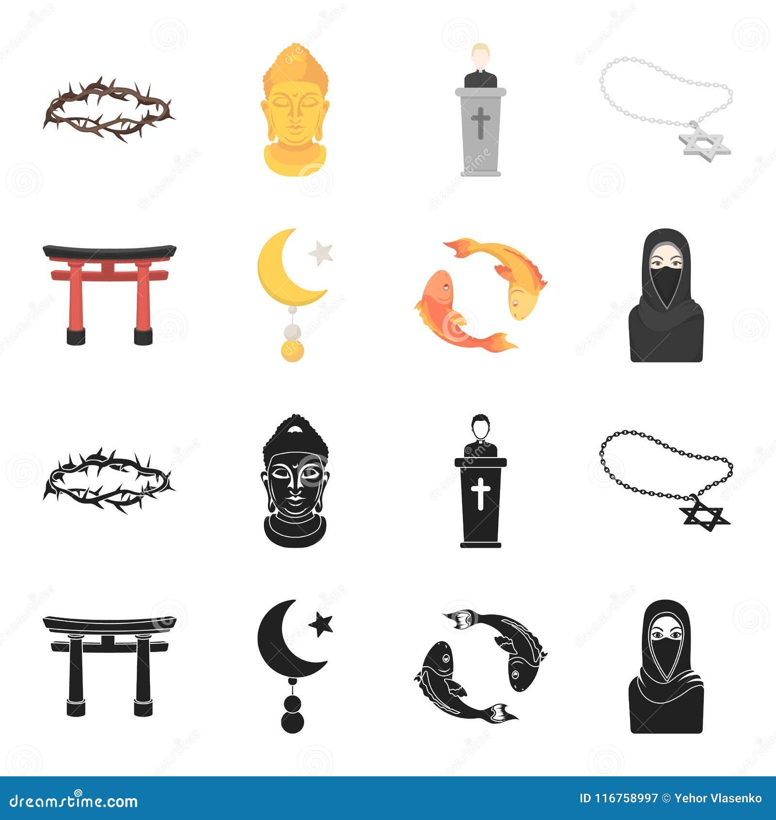 Torii, karperkoi, vrouw in hijab, ster en halve maan Pictogrammen van de godsdienst de vastgestelde inzameling in zwarte, het vec
