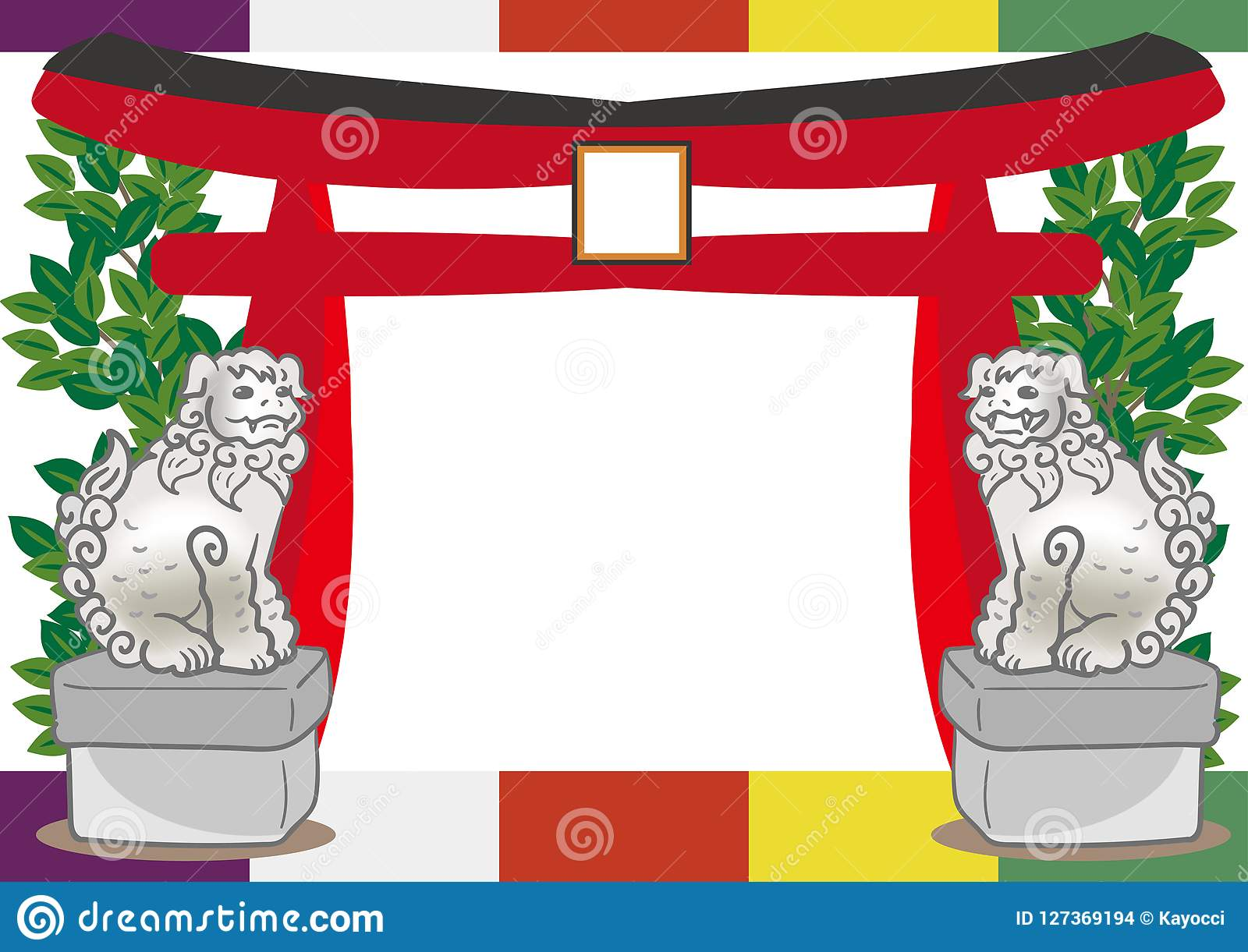 Torii och förmyndarehund - japansk shintoram