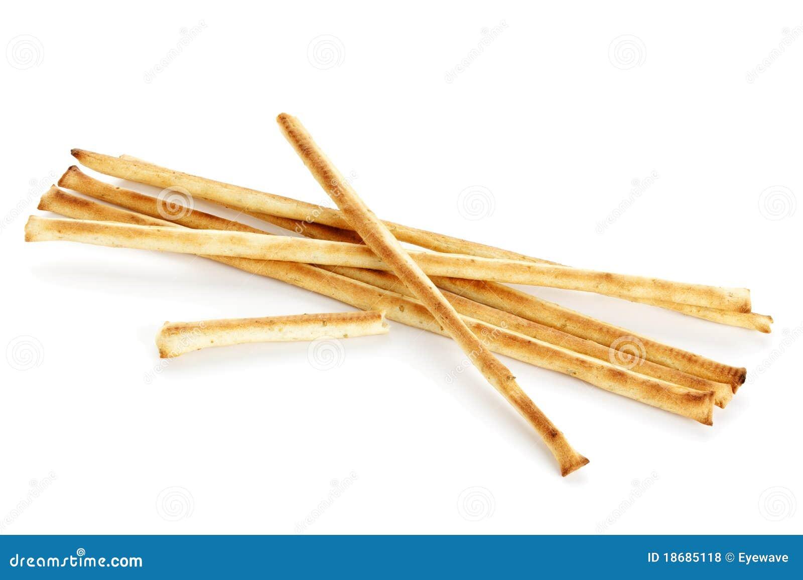 Grissini, batons de pain italien, d'isolement sur le fond blanc.