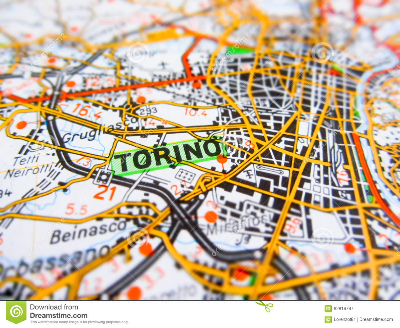 Map Of Italy Torino.Torino City Over A Road Map Italy Stock Image Image Of Streets
