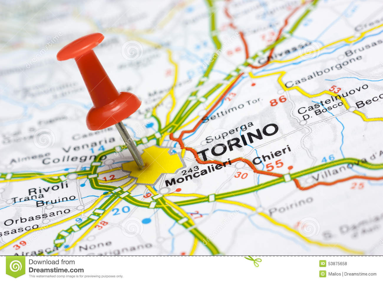 Map Of Italy Torino.Torino On A Map Stock Photo Image Of City Europe Looking 53875658