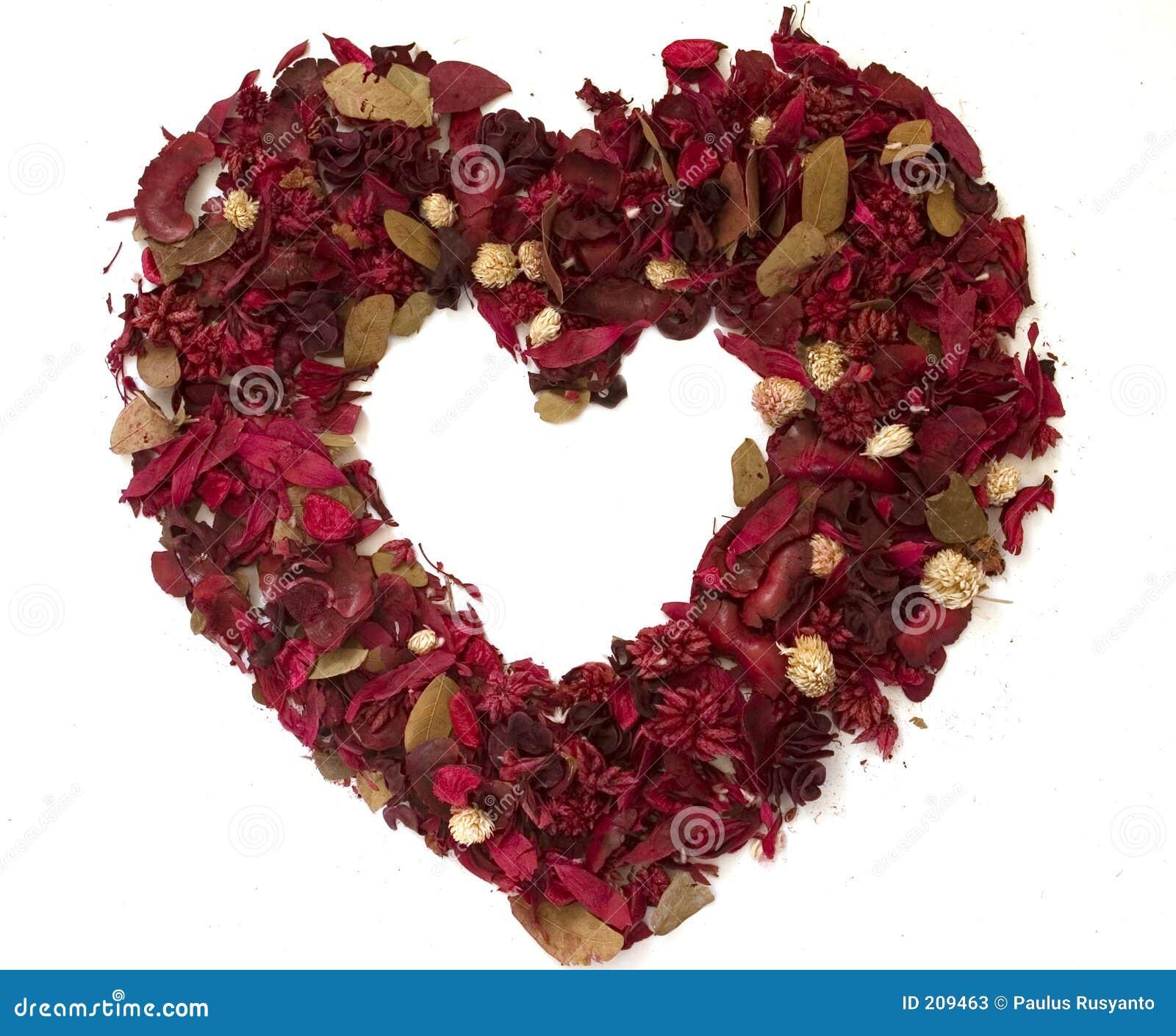 Torkad gjord blommahjärta