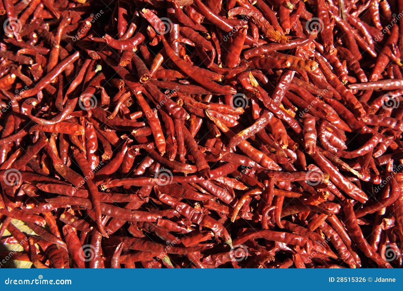 Torkade röda chilir