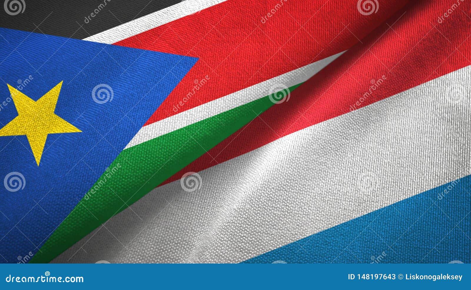 Torkduk för textil för södra Sudan och Luxembourg två flaggor, tygtextur