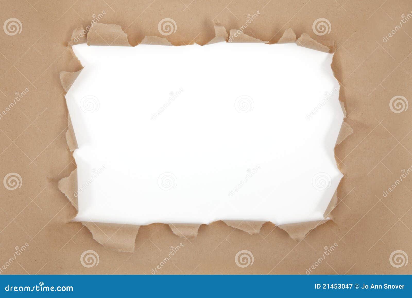 Torn brown paper frame