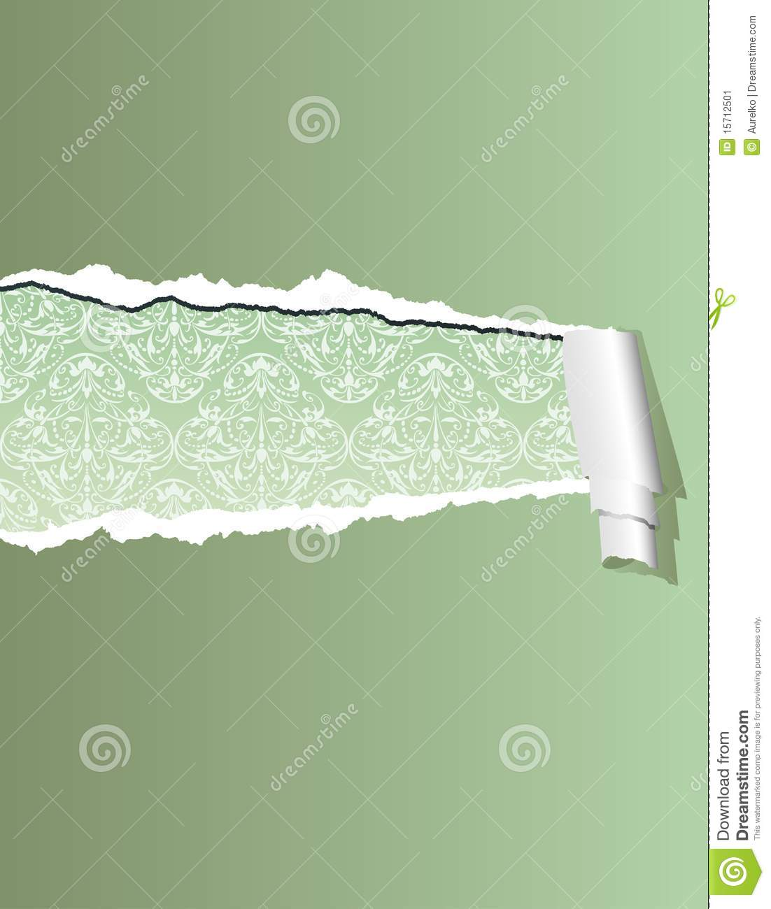 illustration with olive green ripped wallpaper, layered and editable