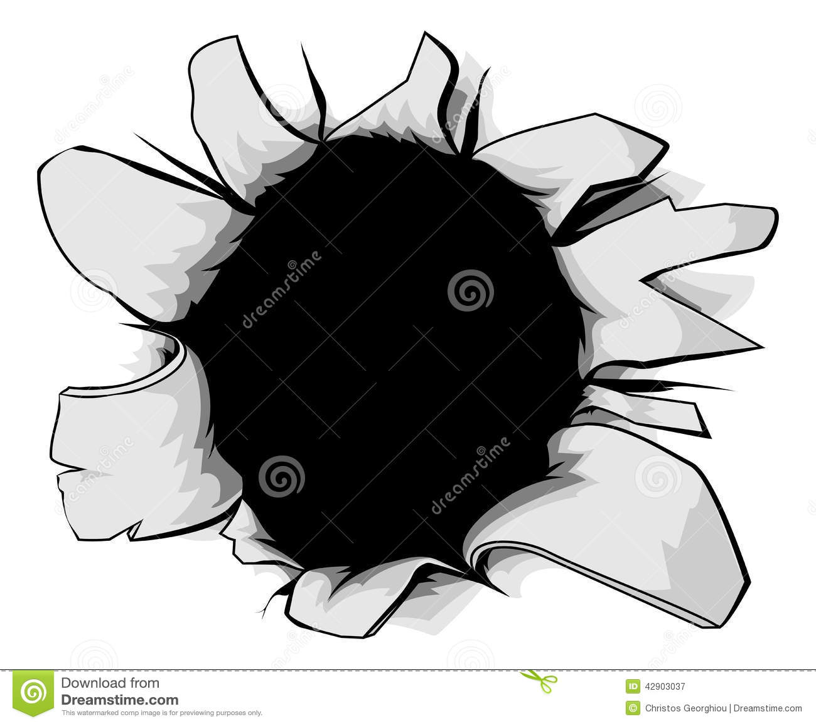 torn hole stock vector image 42903037 vector clipart bullet holes Skull Bullet Hole Vector