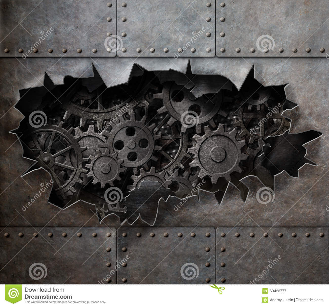 Torn Hole In Old Metal With Rusty Gears And Cogs Stock