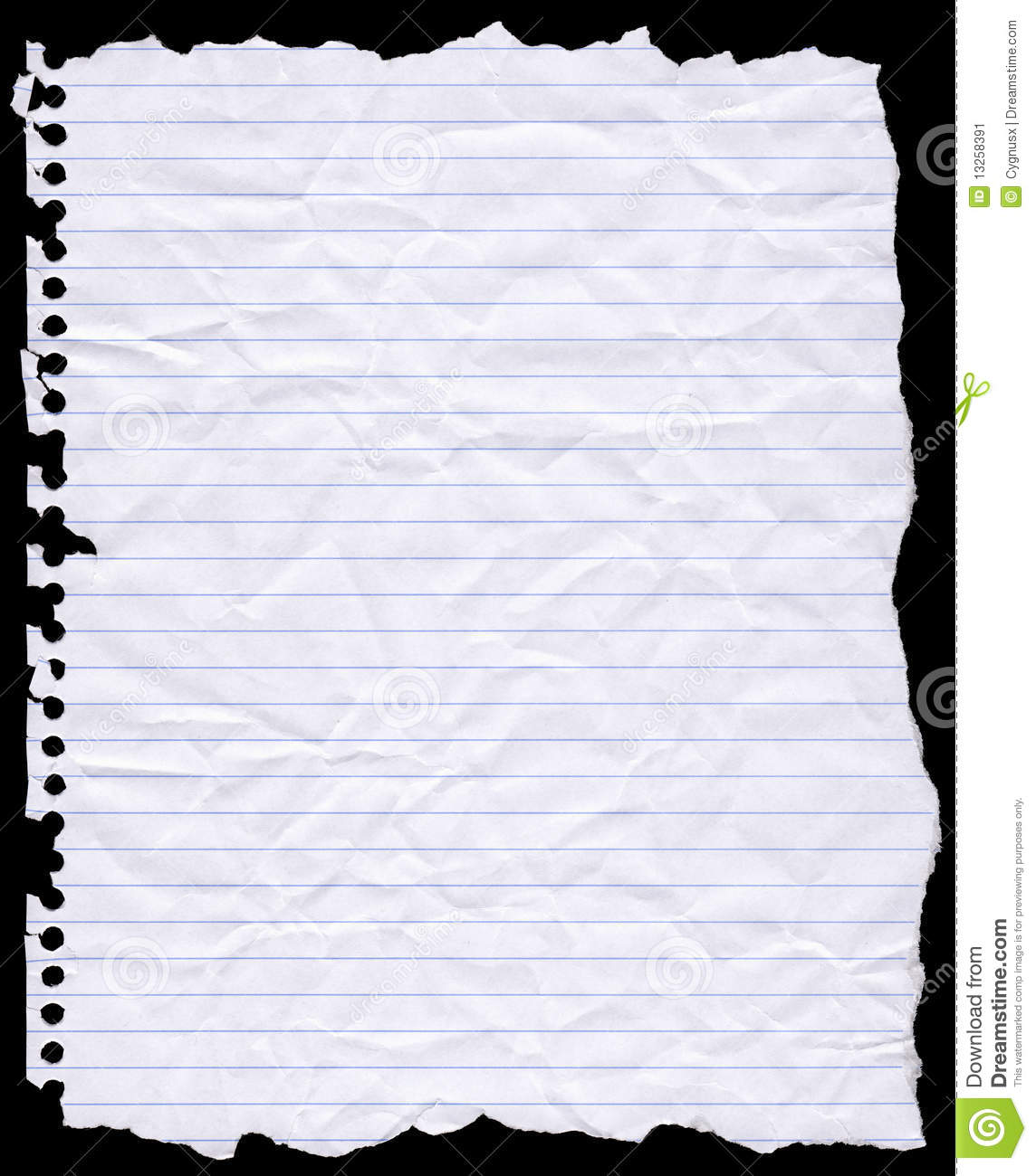 torn hole punched writing paper stock photo 13258391 - megapixl