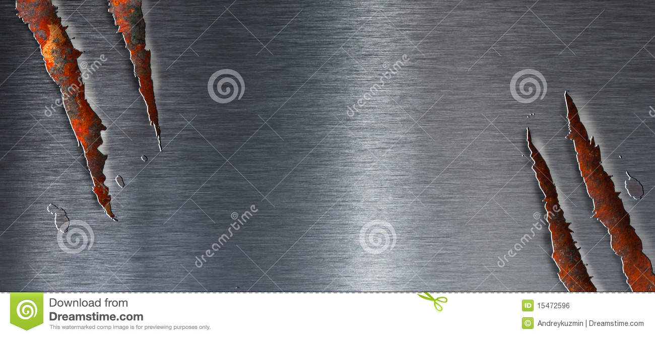 Torn metal texture over rusty grunge background