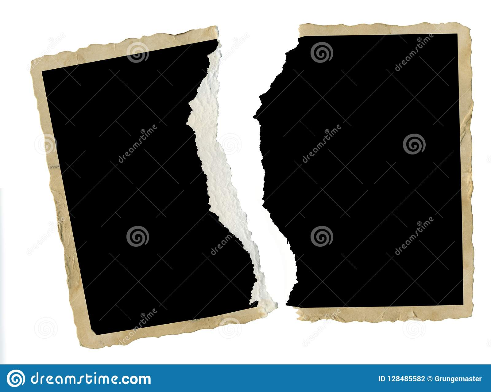 torn old blank photography, photo frame, divorce, contradiction, e.g. concept,isolated