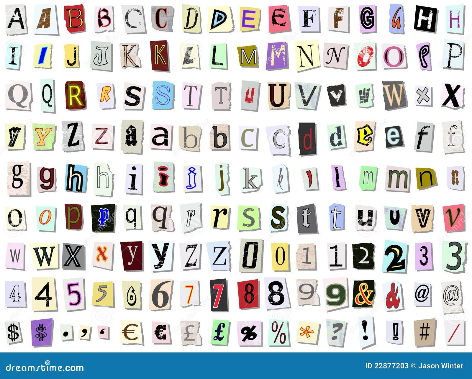 Torn paper font stock vector illustration of newsprint 22877203 torn paper font spiritdancerdesigns Images