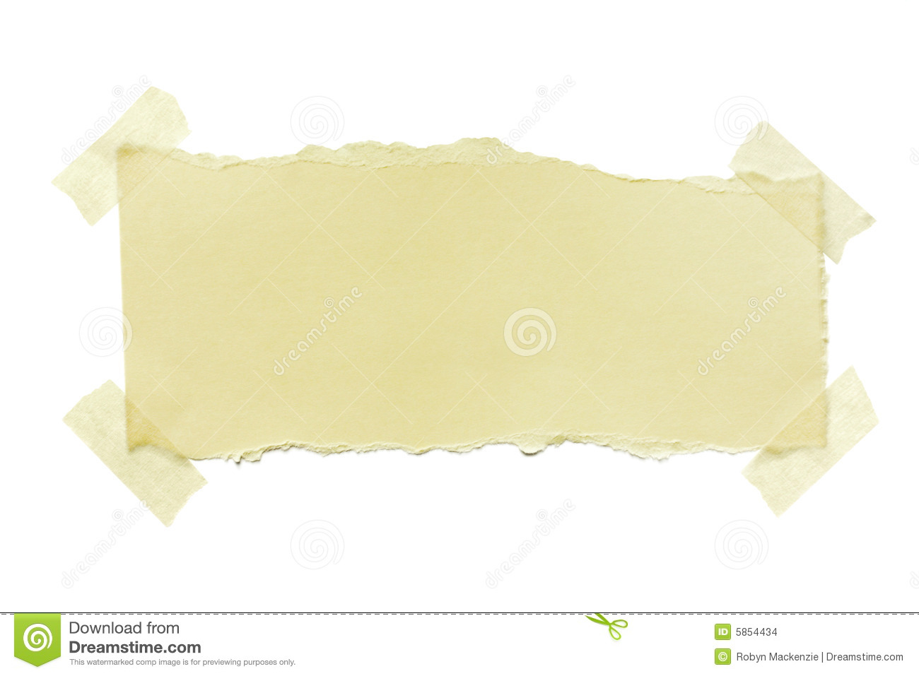 torn paper with masking tape stock photo - image of white, label