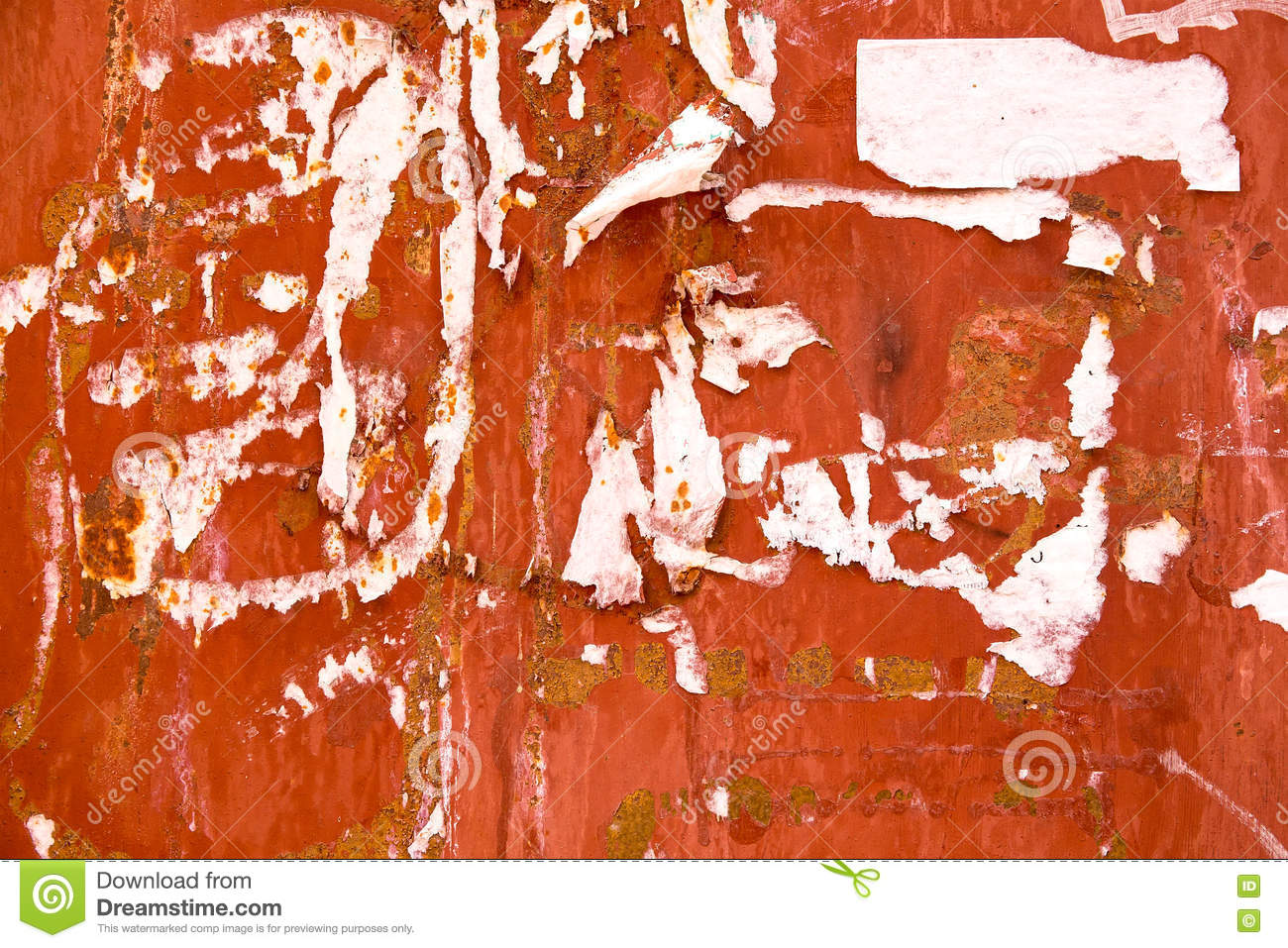 Torn Paper Posters And Advertisements On Urban Wall Stock Photo