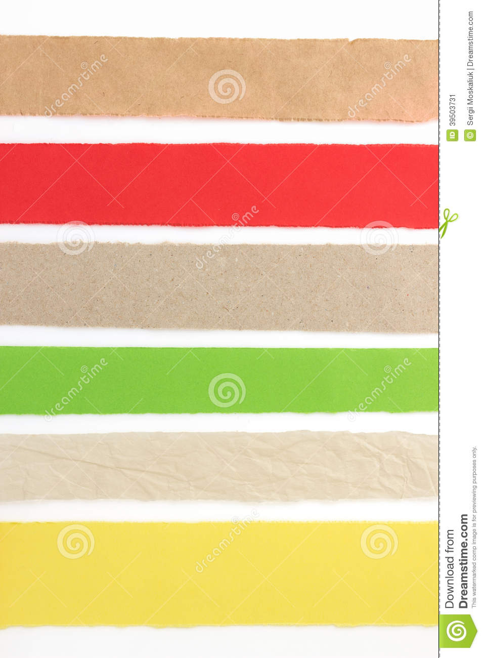 Torn paper strip on white