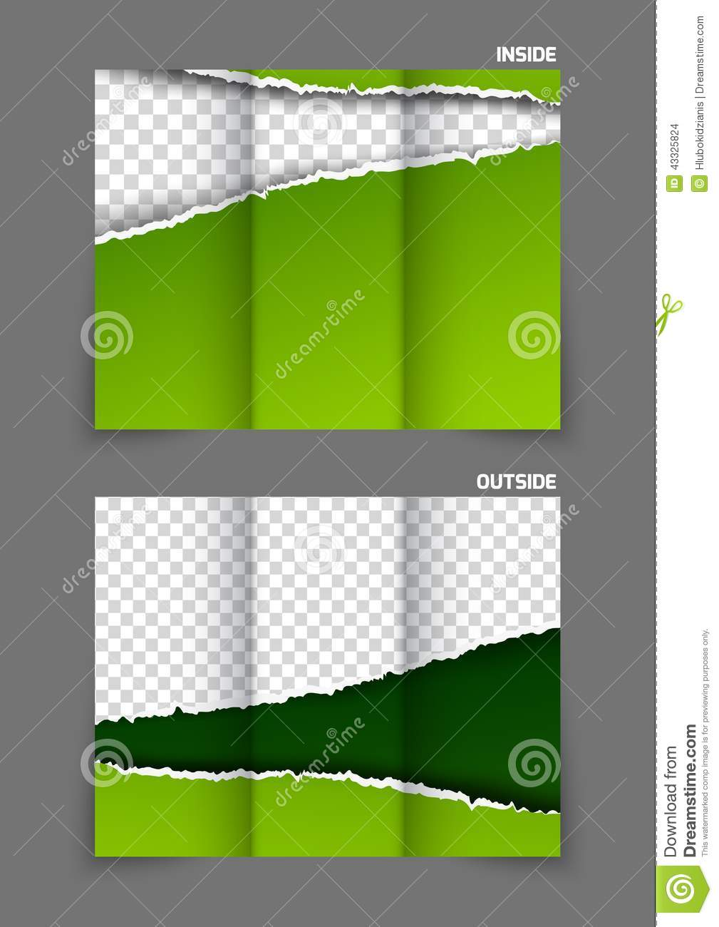 torn paper tri fold brochure stock vector illustration of cutting