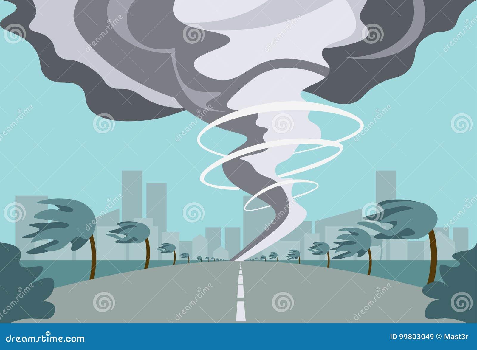Tornade dans le paysage d ouragan de campagne de la tornade de trombe de tempête dans le concept de catastrophe naturelle de cham