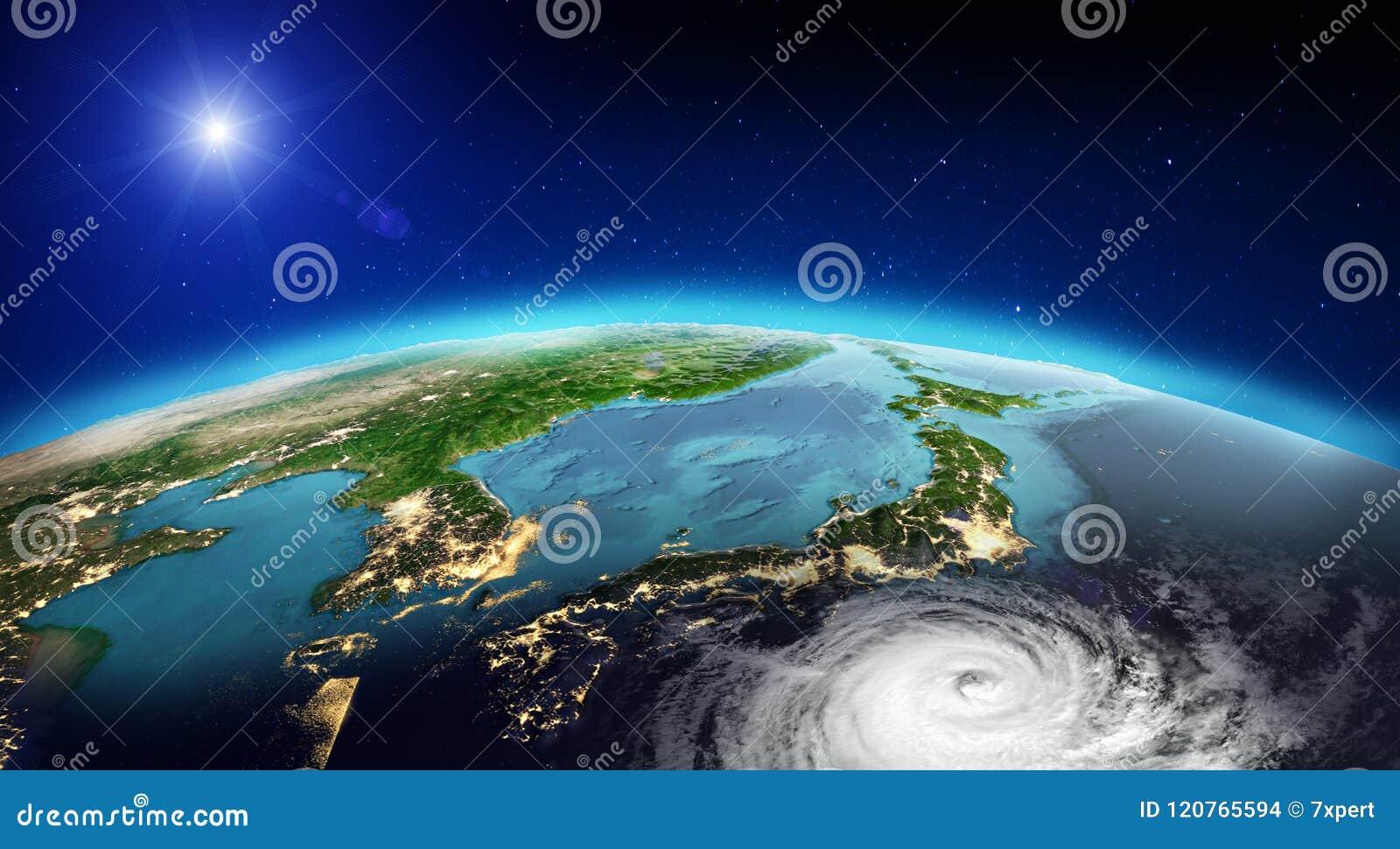 Tornado de Japón representación 3d