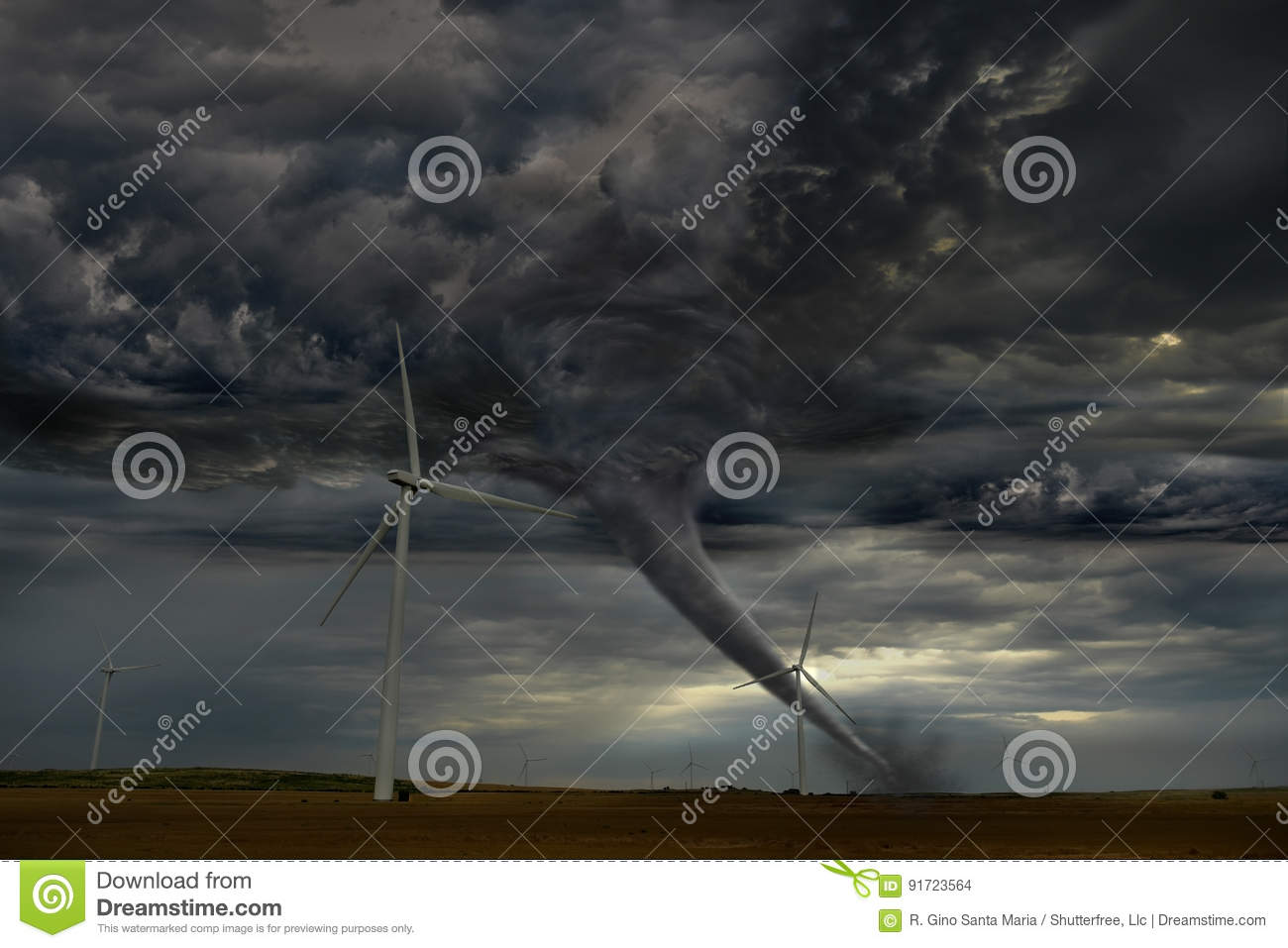 Tornado Descending on Windmill Farm