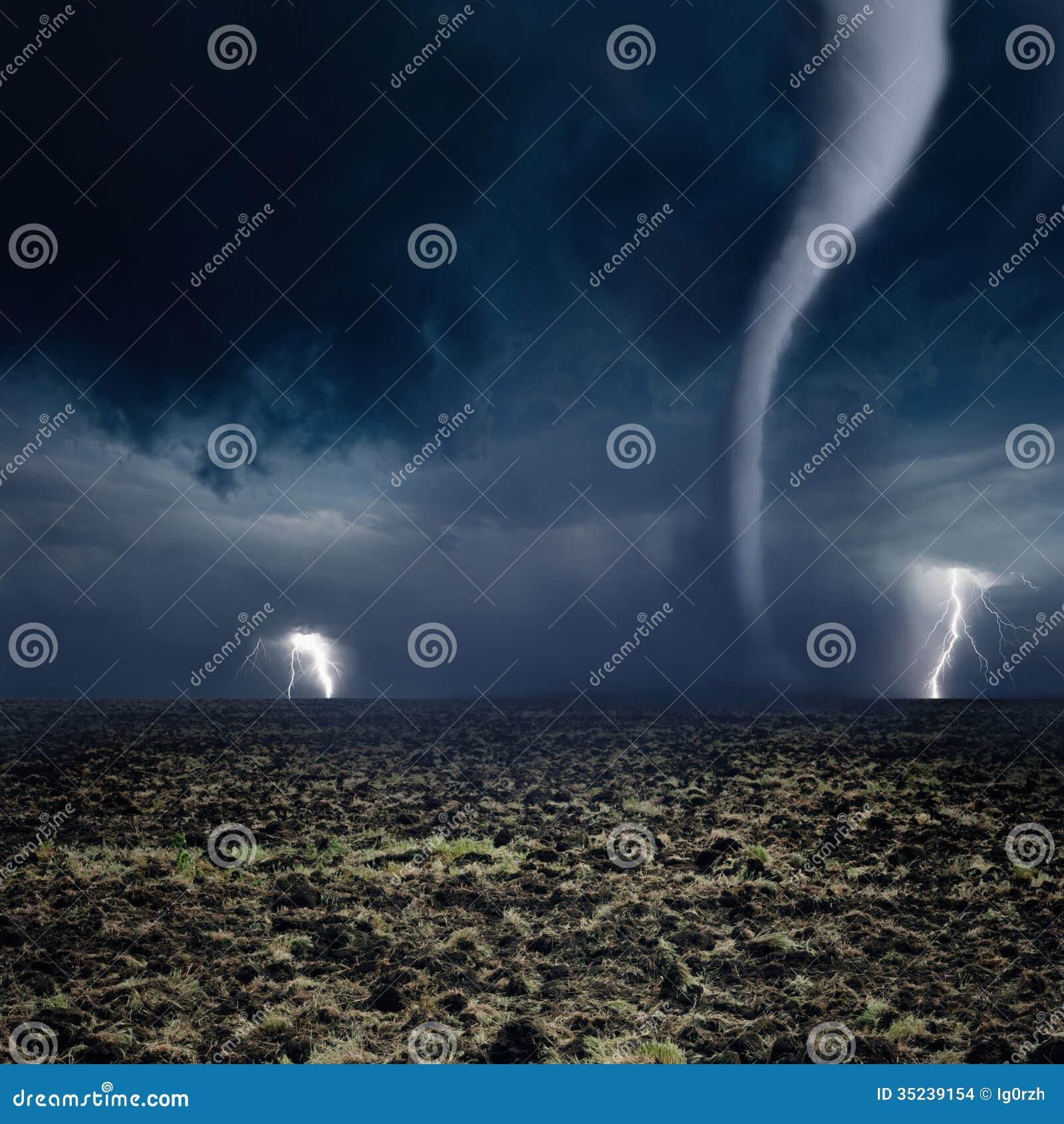 Tornado, Lightning, Farmland Stock Images