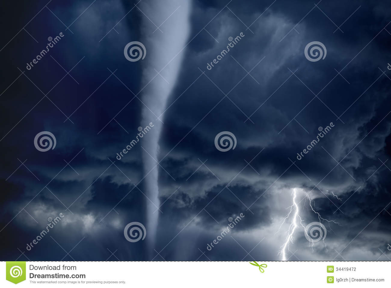 tornado and lightning stock photo image of forecast 34419472