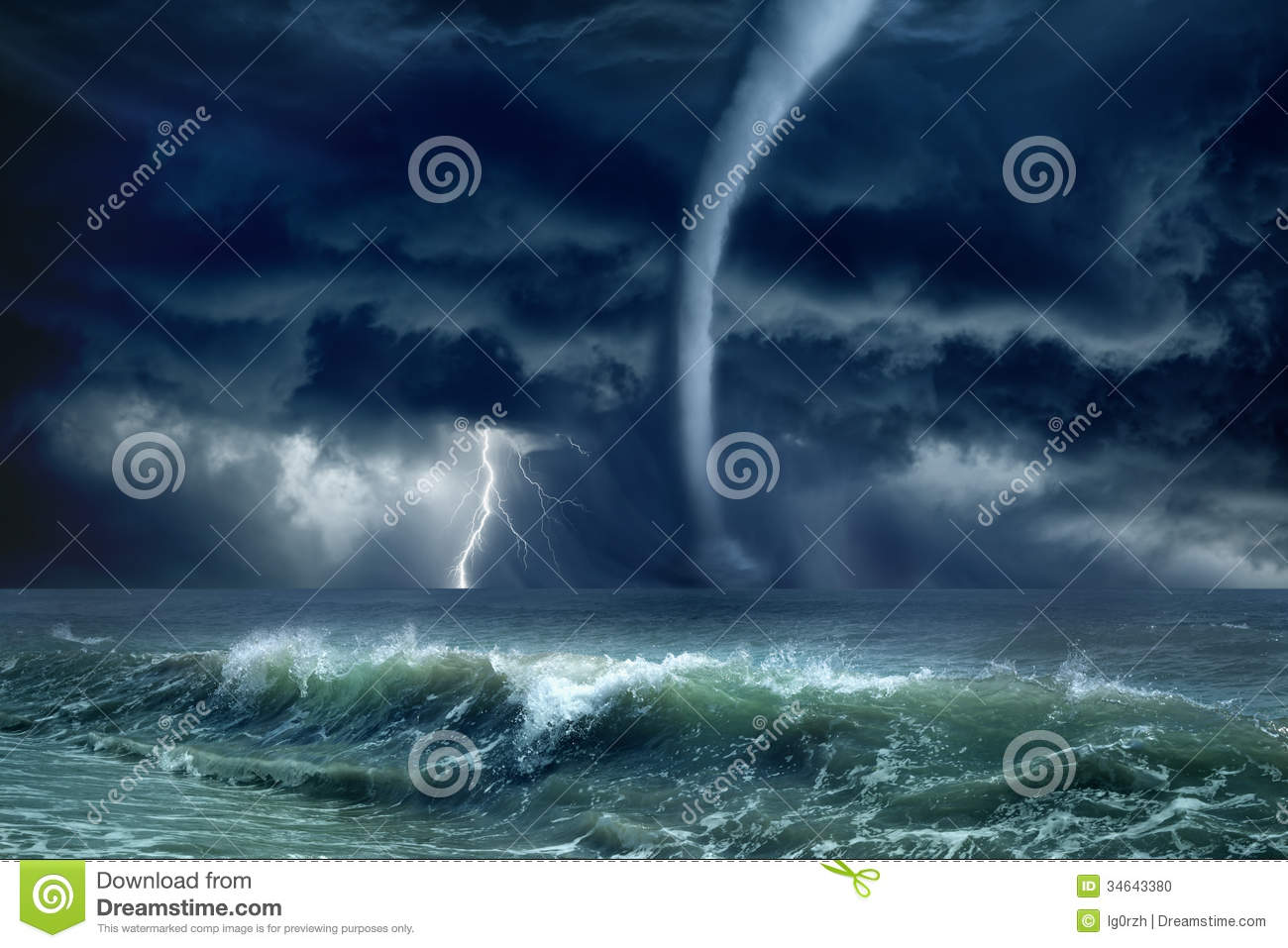 tornado lightning sea stock photo image of disaster 34643380
