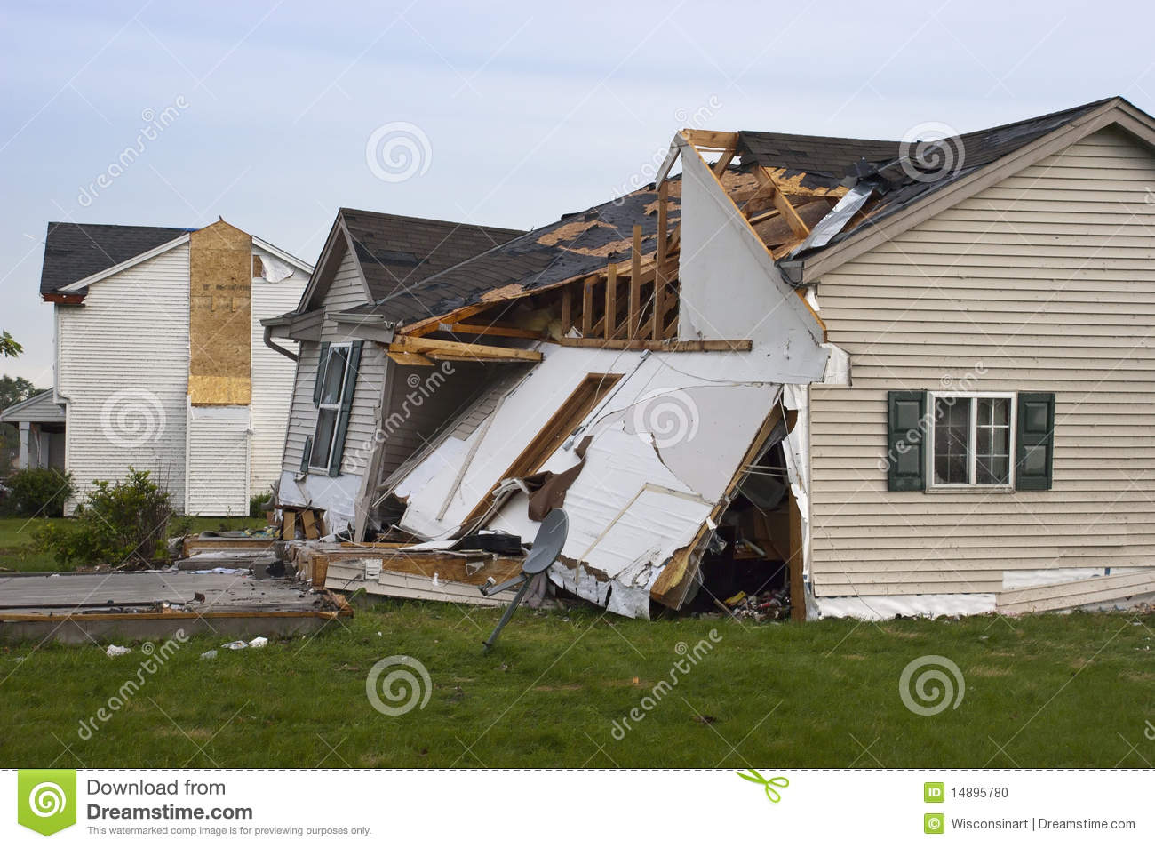 Tornado Storm Damage House Home Destroyed By Wind Stock