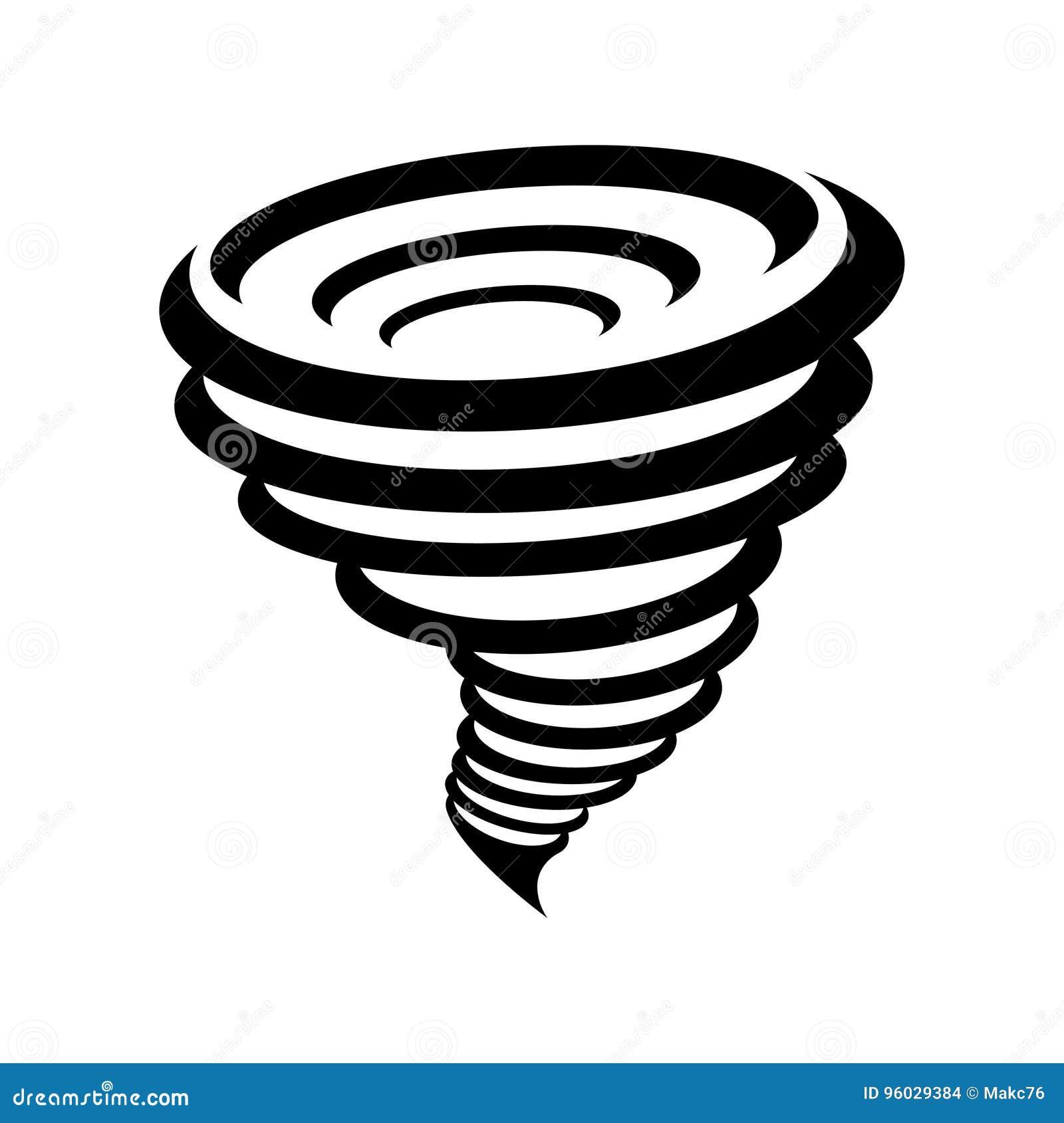 Tornado symbol odizolowywający na żółtym tle