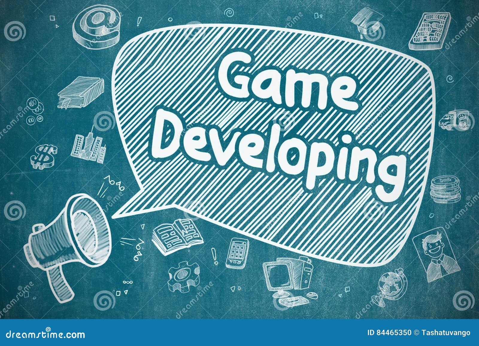 Tornar-se do jogo - ilustração da garatuja no quadro azul