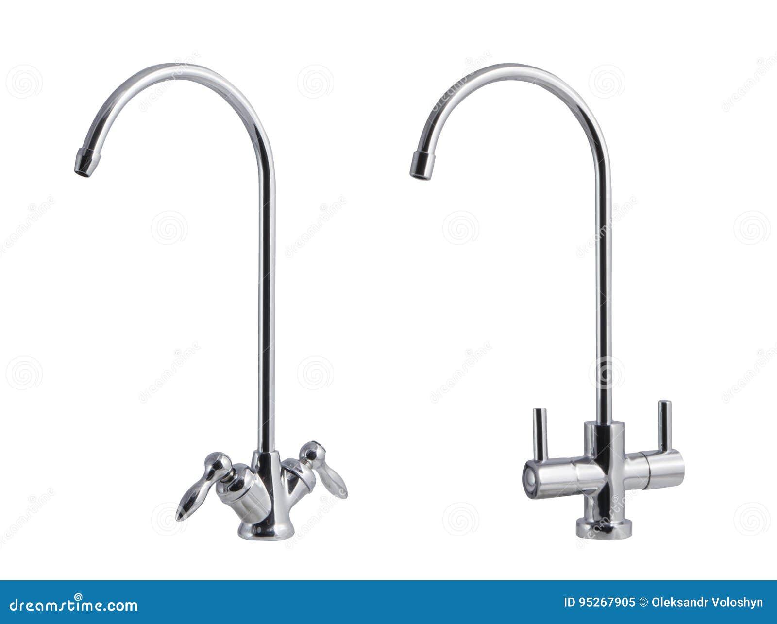 A torneira de água, torneira para o banheiro e misturador da cozinha, isolados em um fundo branco