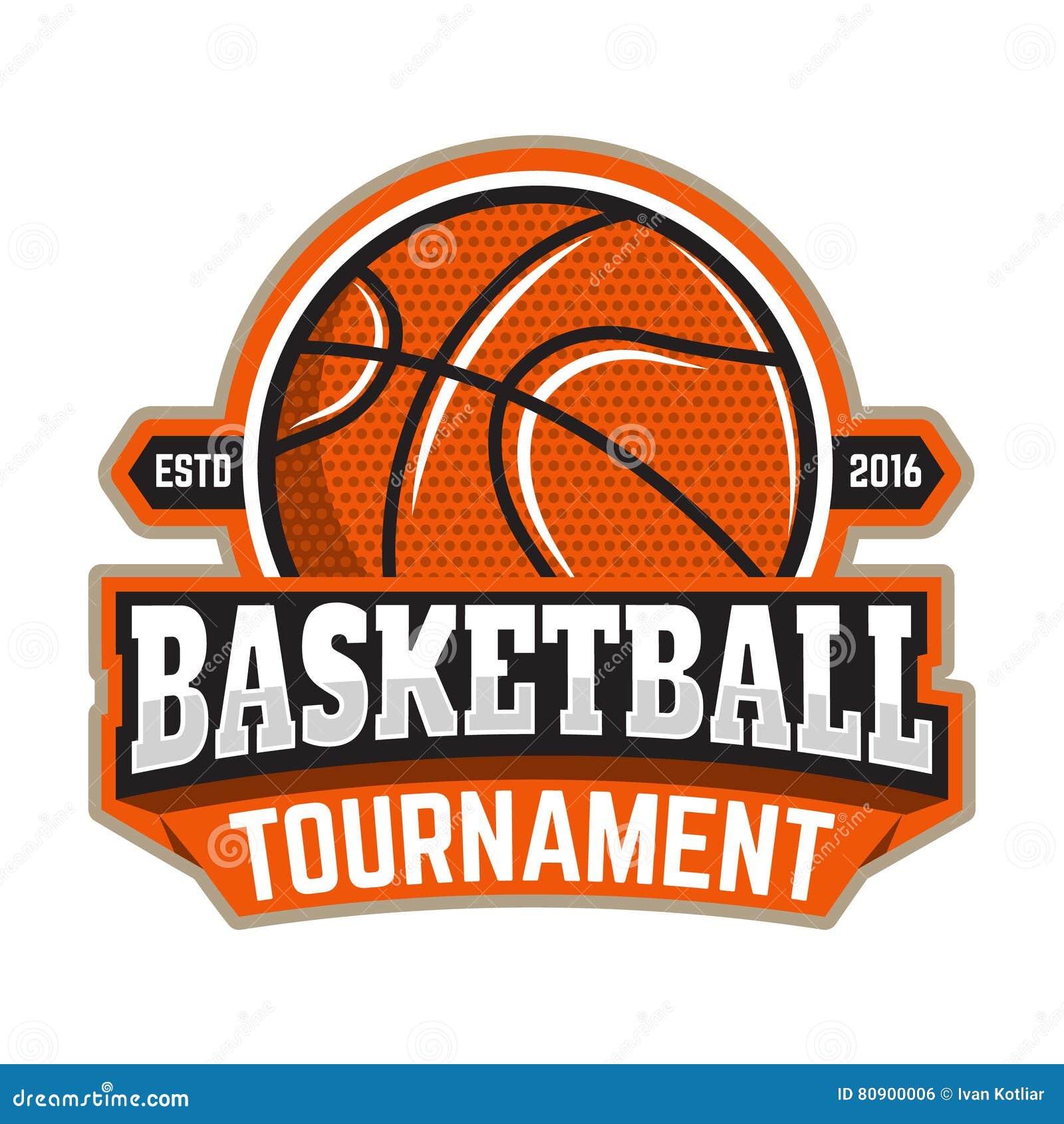 Torneo Del Baloncesto Plantilla Del Emblema Con La Bola Del ...