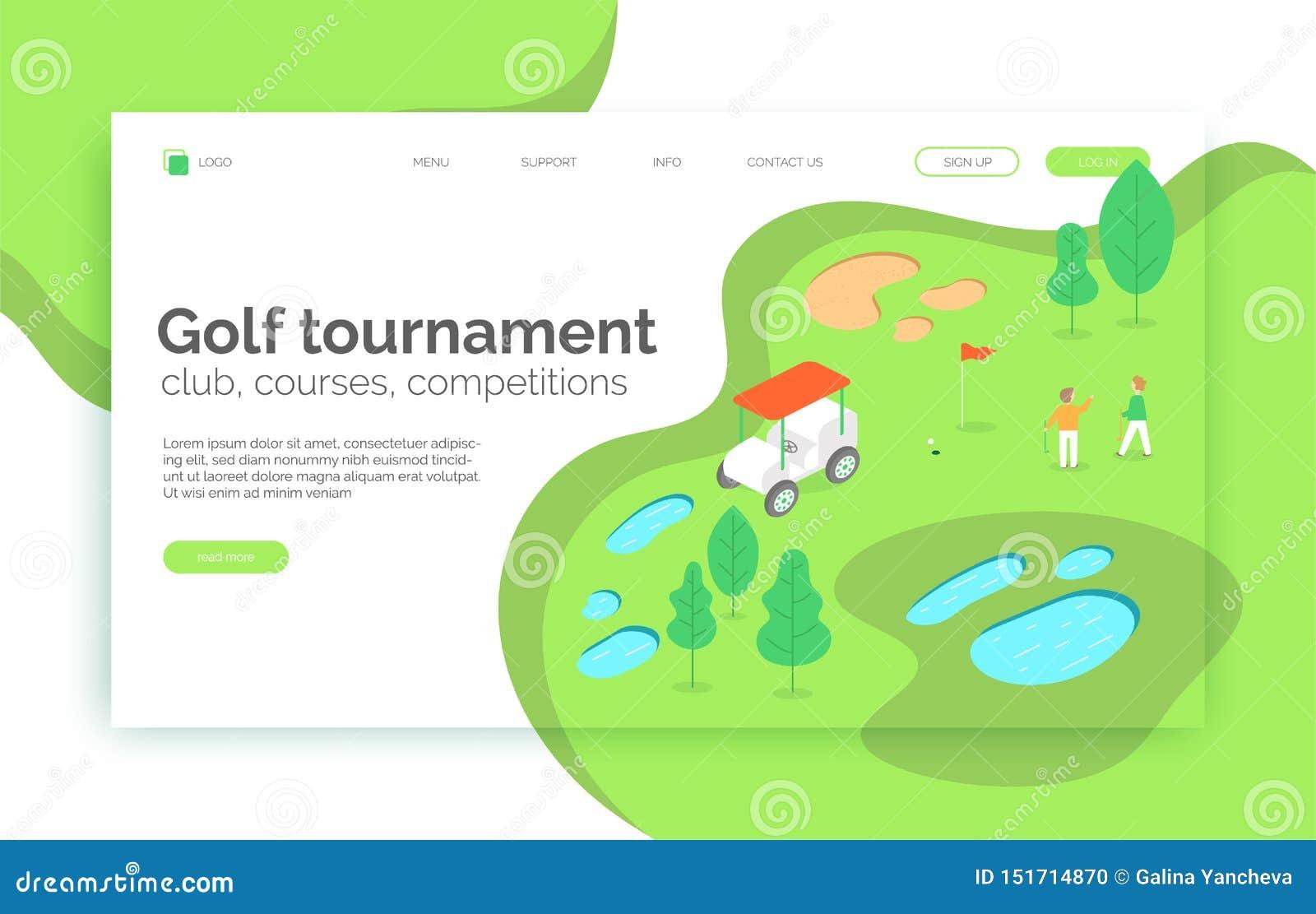 Torneo del golf, cursos, competencia, sitio web de la escuela, página de aterrizaje, presentación, disposición, app, bandera