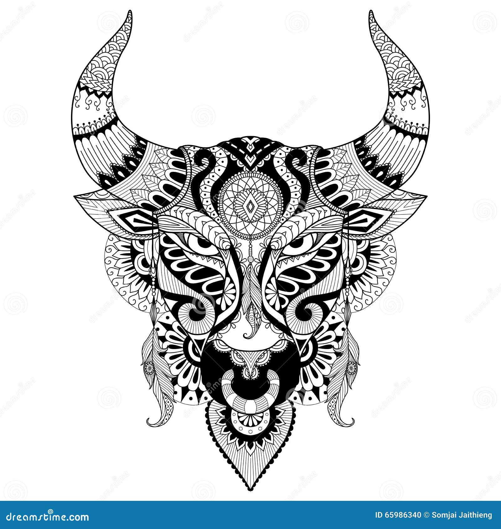 Stag Head Designs Toro Arrabbiato Di Disegno Per Il Libro Da Colorare Per L