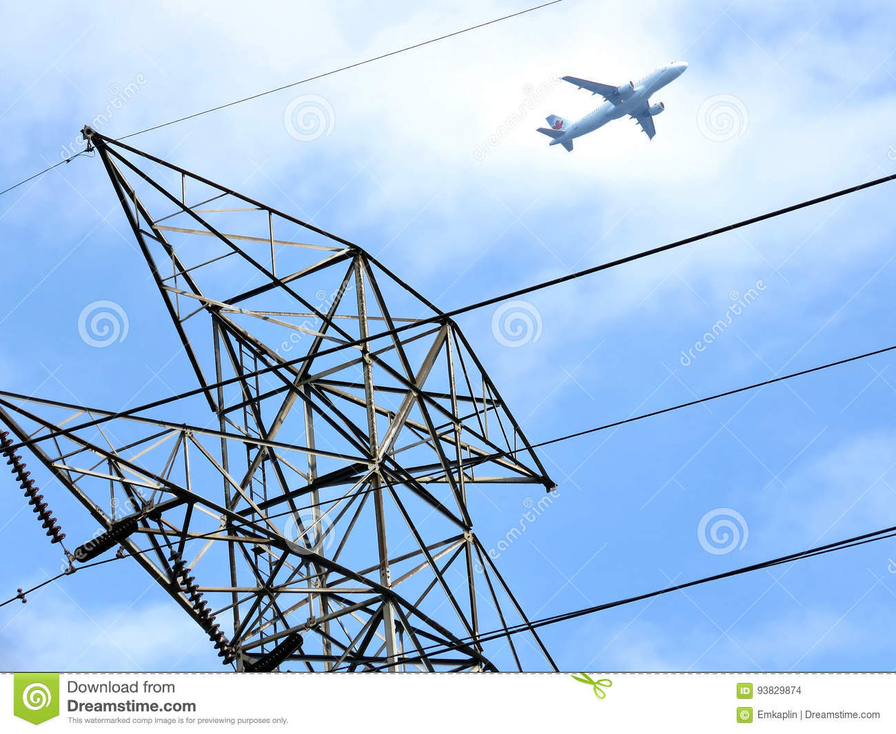 Toronto airplane over transmission tower 2017