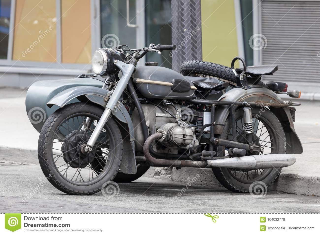 Old BMW Motorcycle With Sidecar Editorial Stock Photo