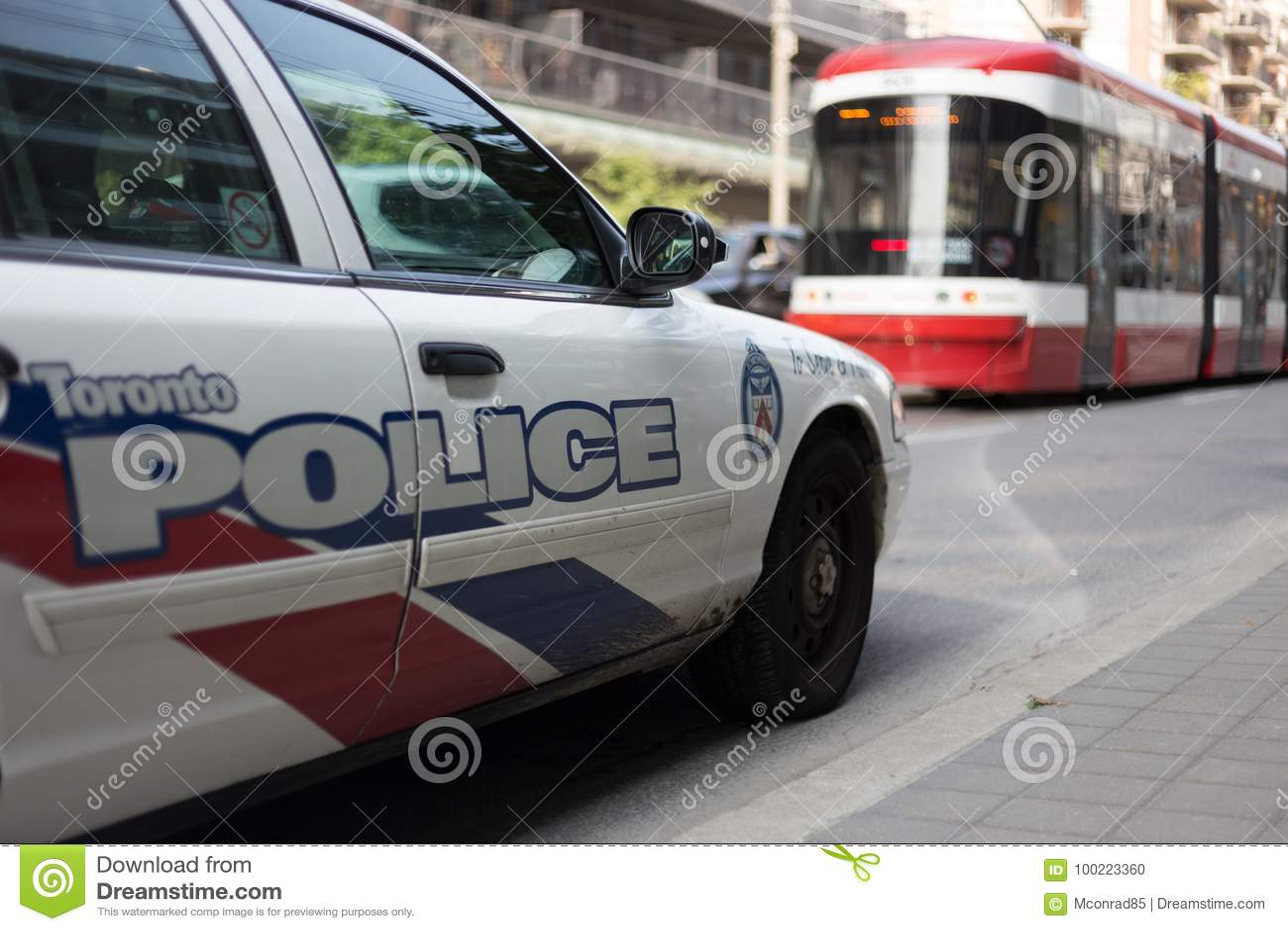 Toronto, ON, Canada - September 18, 2017 police car in traffic s