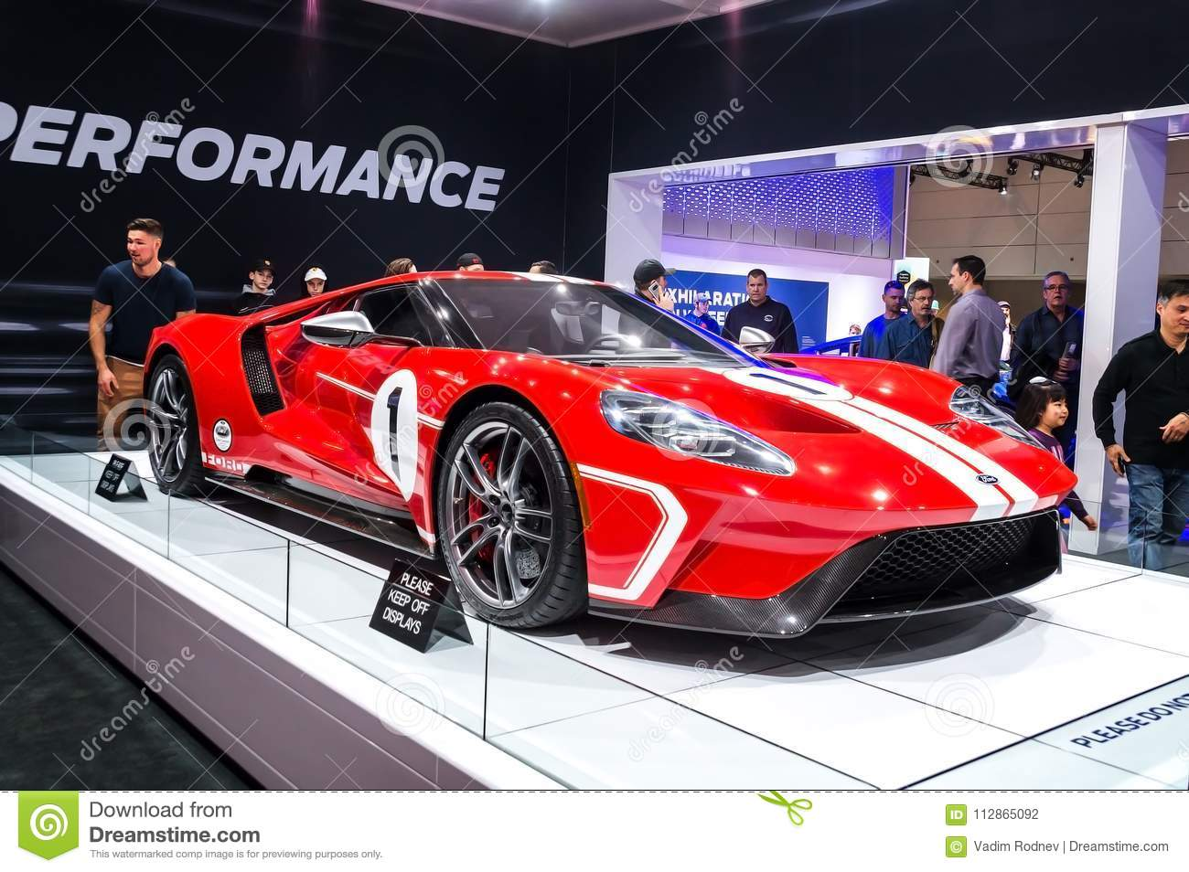 Toronto Canada  Visitors Of  Canadian International Autoshow Beside The Impressive Ford Gt Supercar On The Ford Motor Company Performance