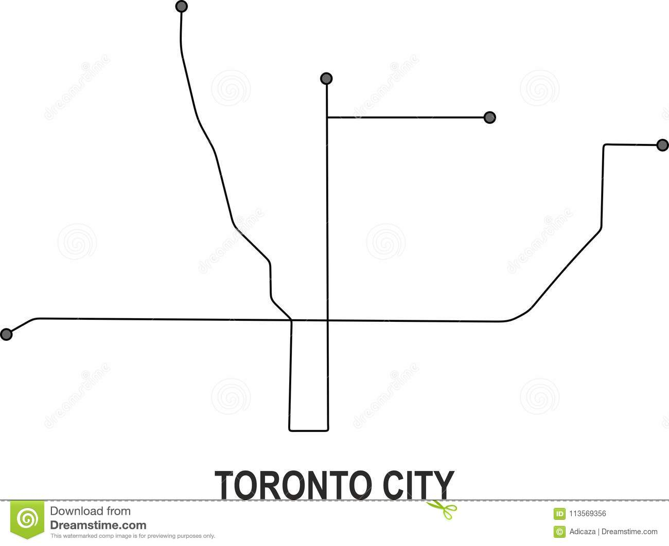 Toronto Subway Map.Toronto City Map Stock Vector Illustration Of Available 113569356