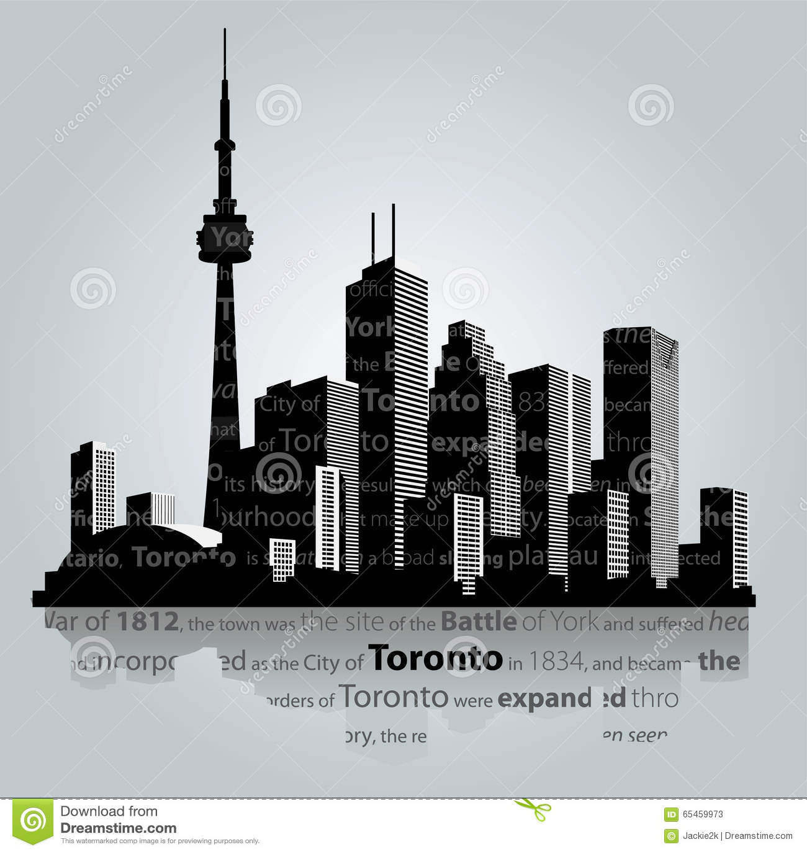 Toronto City Silhouette Stock Vector Image 65459973