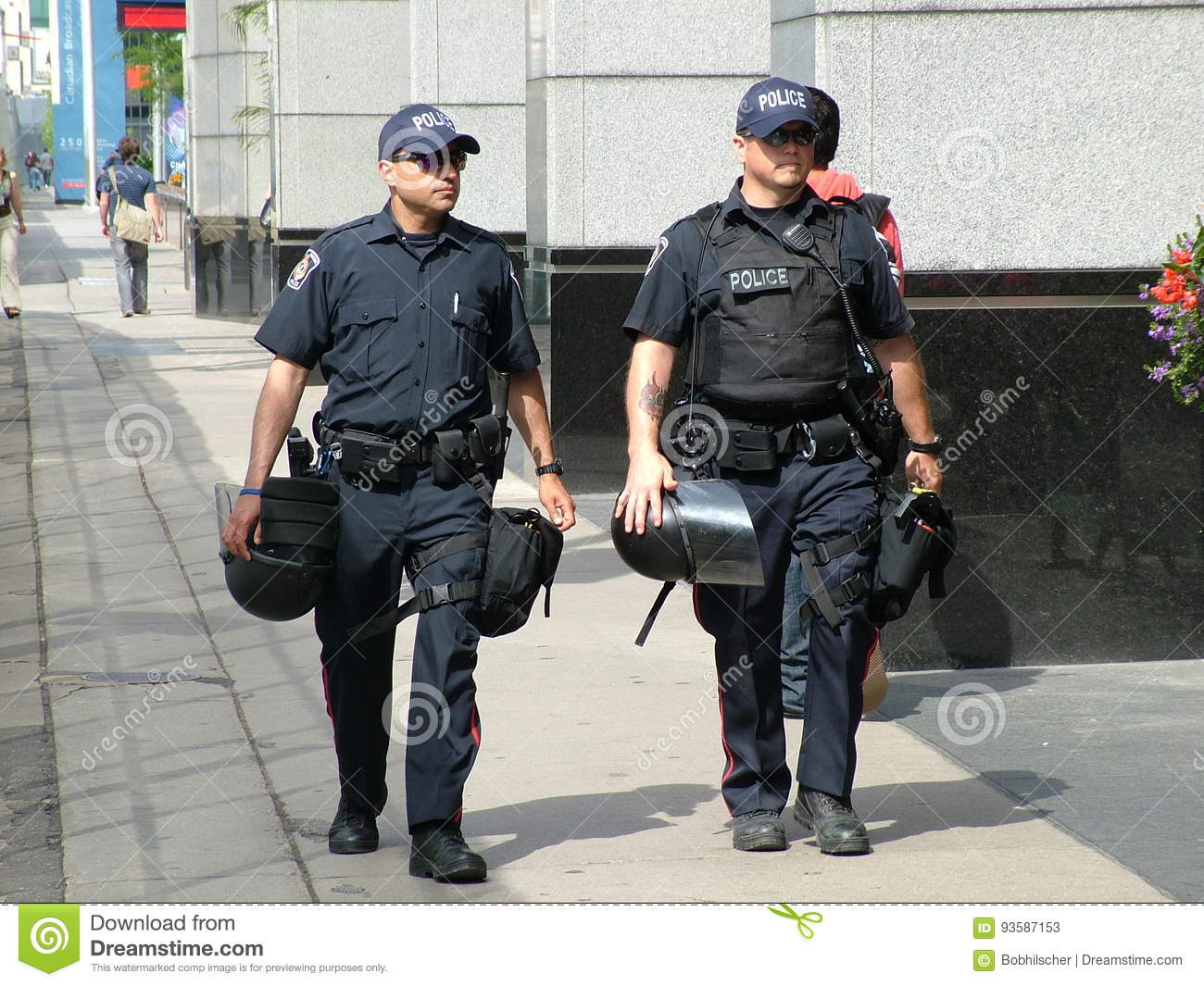 TORONTO - JUNE 23, 2010 - Police officers with riot gear on the street prior to the G20 Summit in Toronto, Ontario.