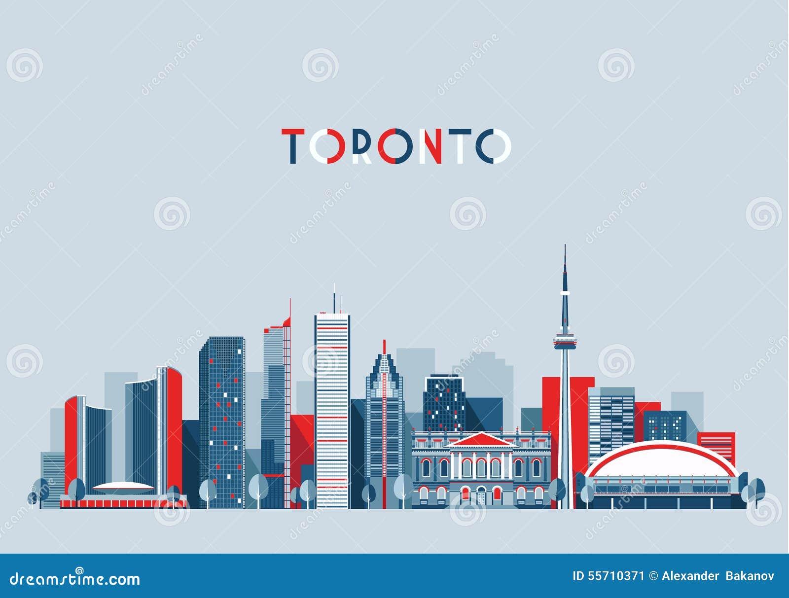Toronto Kanada miasta linii horyzontu Płaski Modny wektor