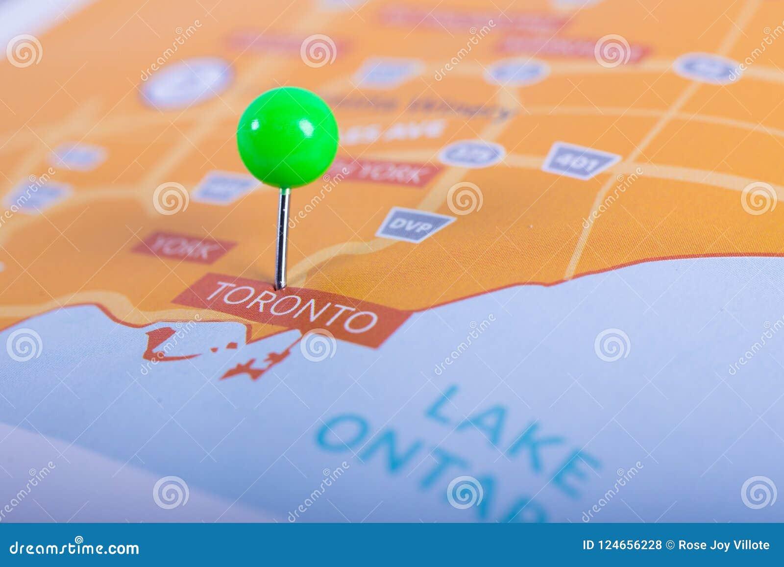 Toronto Karte Mit Stift Stockfoto Bild Von Stadt Konzept 124656228