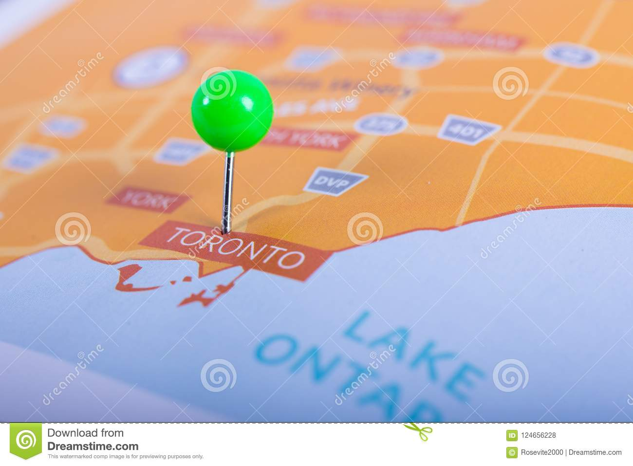 Toronto map with pin stock photo. Image of finding, locale ...