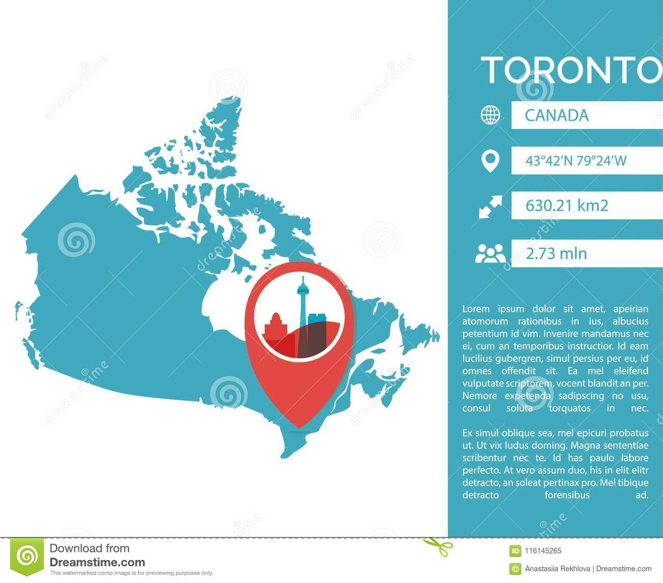 Toronto Map Infographic Vector Isolated Illustration Stock Vector ...