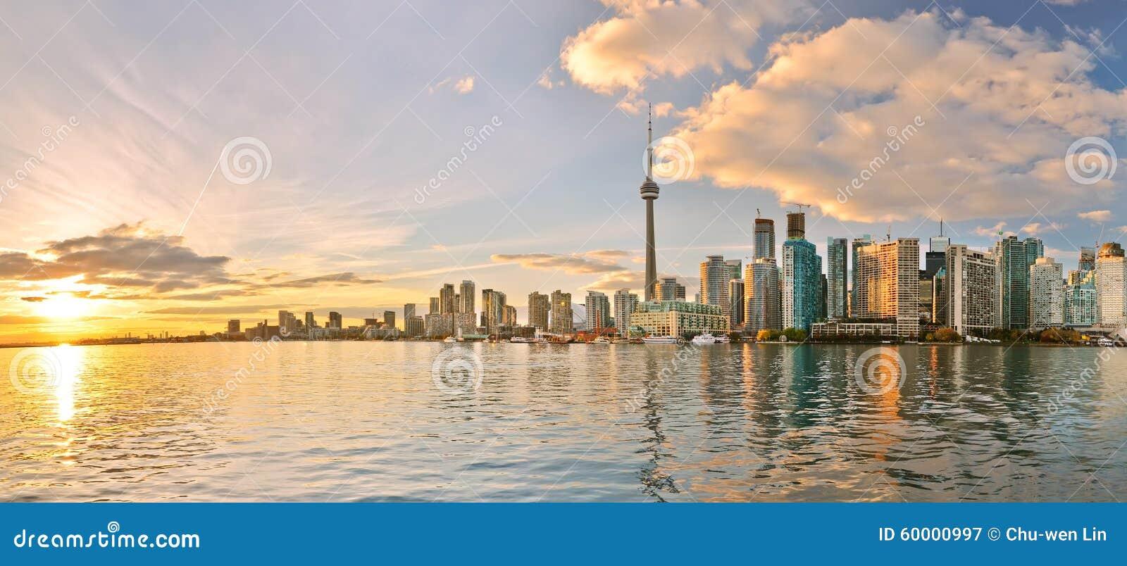 Toronto skyline at sunset in Ontario, Canada.