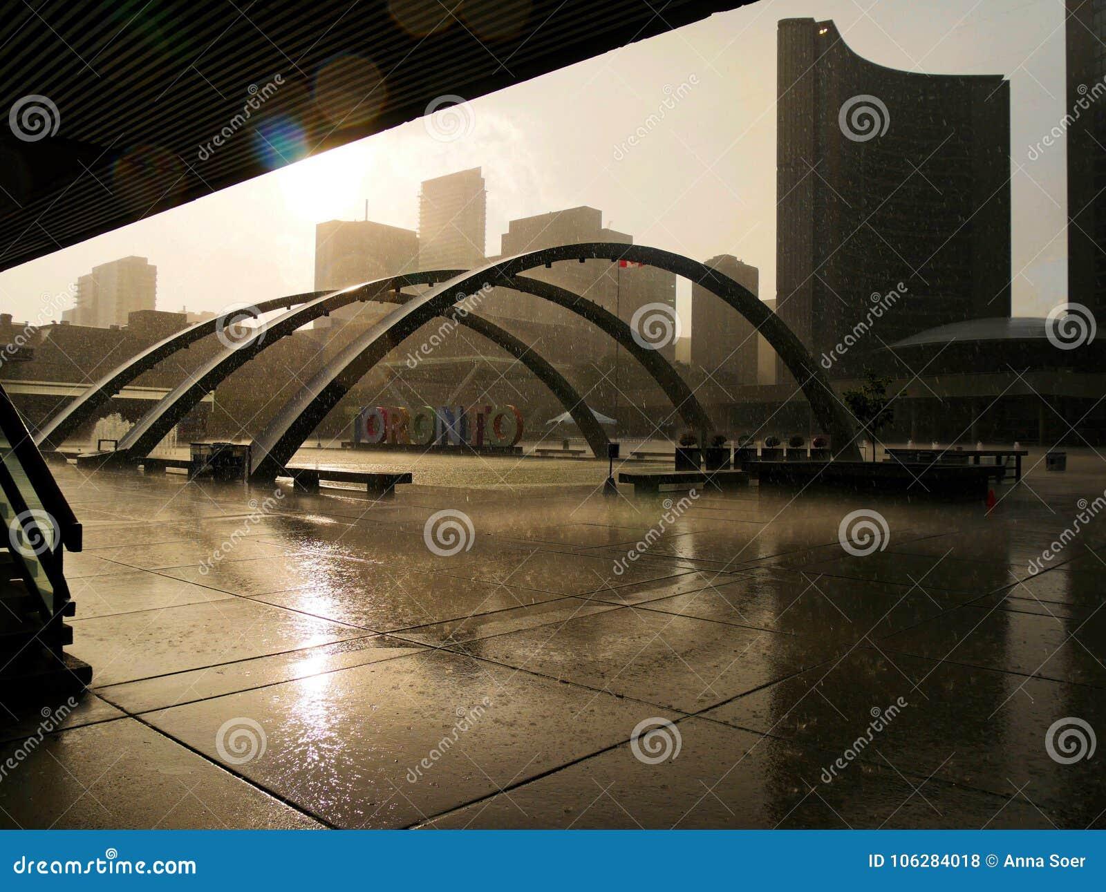 Toronto under the rain