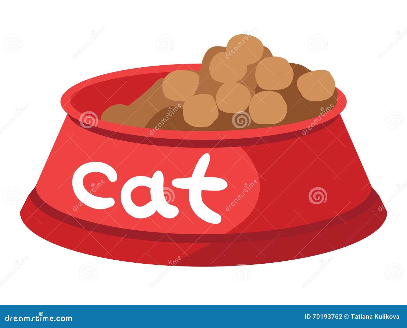 Torr mat för bunke för katter med överskrift